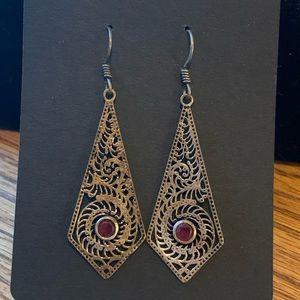 """💥4/$10💥 BOHO Drop Earrings Red Stone 2"""""""